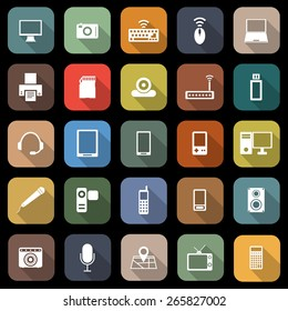 Gadget flat icons with long shadow, stock vector