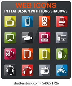 gadget icons set in flat design with long shadow