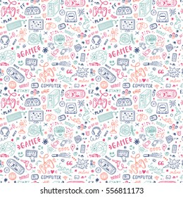 Gadget icons Vector Seamless pattern. Hand Drawn Doodle Computer Game items. Video Games Background