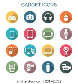 gadget long shadow icons, flat vector symbols