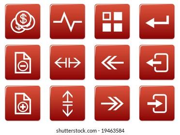 Gadget square icons set. Red - white palette. Vector illustration.