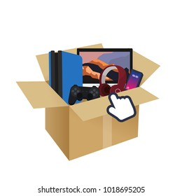 Gadget  technology game, smartphone, headphone, computer  in box from online shopping and cursor. Vector illustration