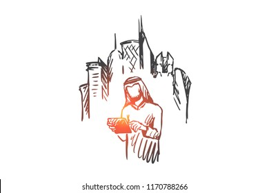 Gadgets, big city, megapolis, businessman, muslim concept. Hand drawn muslim man with gadget in hands, megapolis on background concept sketch. Isolated vector illustration.