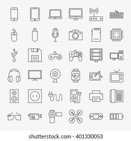 Gadgets and Devices Line Art Design Icons Big Set. Vector Set of Modern Thin Outline Technology and Electronic Items.