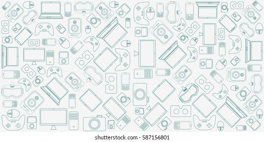 Gadgets and devices pattern.
