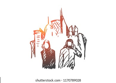 Gadgets, megapolis, businessman, muslim concept. Hand drawn muslim people talking by mobile phone concept sketch. Isolated vector illustration.