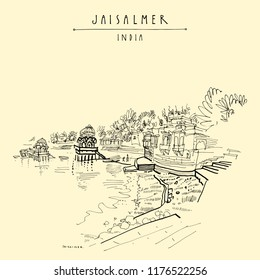 Gadisar (Gadi Sagar) lake in Jaisalmer, Rajasthan, India. Beautiful aged buildings and water. Travel sketch. Vintage hand drawn touristic postcard or poster. Vector illustration