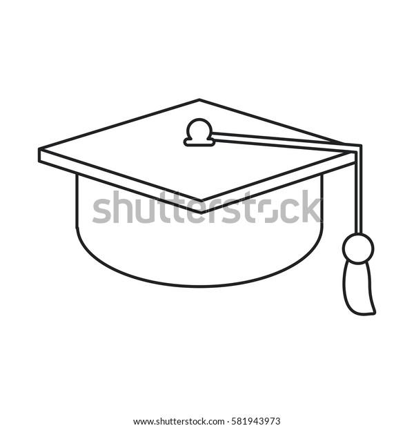 gaduation cap education symbol thin line