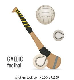 Gaelic football club and balls icon set. Irish football sport equipment. Vector
