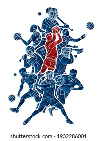 Gaelic Football and Hurling Sport Players Action Cartoon Graphic Vector