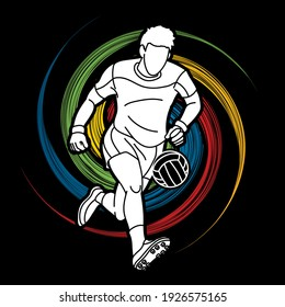 Gaelic Football Man Player Cartoon Sport Graphic Vector