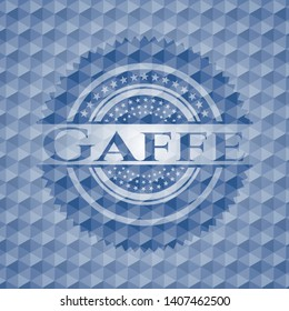 Gaffe blue emblem or badge with abstract geometric pattern background. Vector Illustration. Detailed.