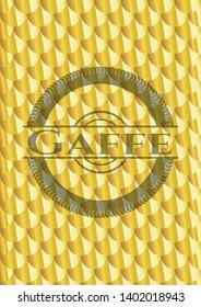 Gaffe golden badge. Scales pattern. Vector Illustration. Detailed.