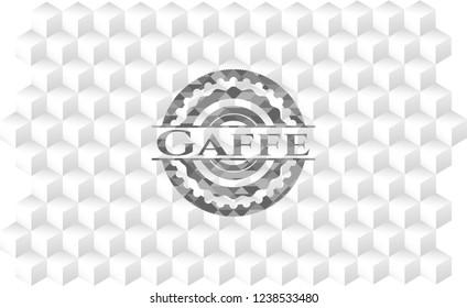 Gaffe grey emblem with geometric cube white background