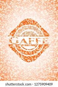 Gaffe orange tile background illustration. Square geometric mosaic seamless pattern with emblem inside.