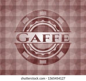 Gaffe red geometric badge. Seamless.