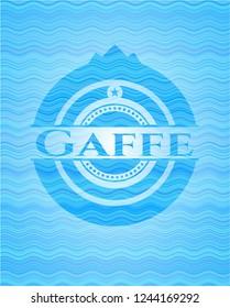 Gaffe sky blue water wave badge background.