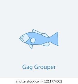 gag grouper 2 colored line icon. Simple light and dark blue element illustration. gag grouper concept outline symbol design from fish set