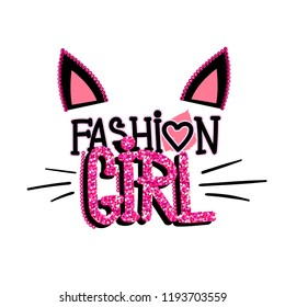 gain t shirt  design with cats ears, sewn sequins, glitter texture on text.