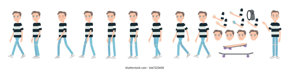 Gait animation of a young guy in jeans. Animated teenager, sequences for motion design.
