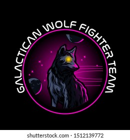galactican wolf fighter esport logo gaming concept