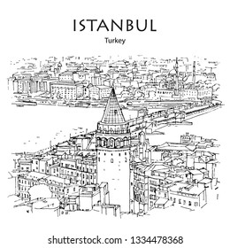 GALATA TOWER AND BRIDGE, ISTANBUL, TURKEY – Panoramic view to Golden Horn. Hand drawn sketch