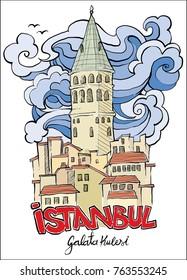 galata tower istanbul hand drawn vector