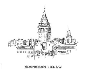 Galata Tower, Istanbul, sketch, drawing