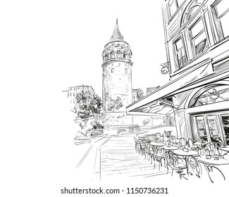 Galata Tower.Street cafe. Istanbul. Turkey. Urban sketch. Hand drawn, vector illustration