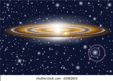 galaxy and bright stars in cosmos . Vector