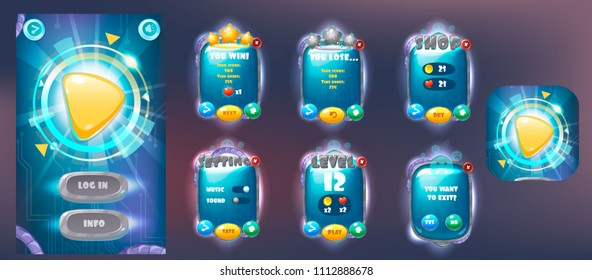 Galaxy cartoon game assets set,galaxy glossy buttons, panel and shiny stars. Space Popups and game elements.Complete set of graphical user interface, GUI, to build 2D video games.Vector game ui.