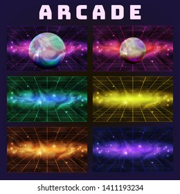Galaxy Collection On Arcade Background Set Vector. Multicolored Assemblage Mockup Space With Sphere Isolated On Style Computer Arcade Game Neon Laser Grid Decoration Realistic 3d Illustration