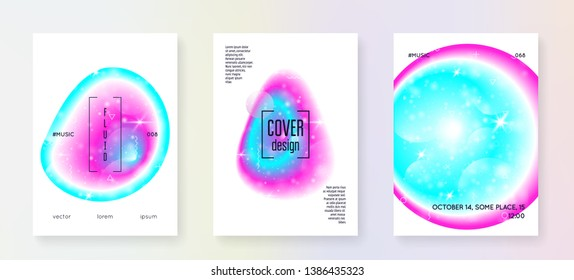 Galaxy flyer. Holographic gradients. 3d magic dreamer unicorn sparkles. Cosmic science cover set with planets, sun, deep fluid light. Galaxy flyer with universe shapes and star dust.