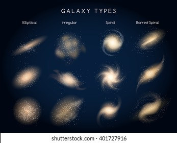 Galaxy morphological classification types icons. Vector illustration