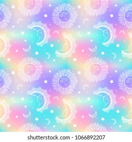 Galaxy seamless pattern with opal, petrol, holographic background.