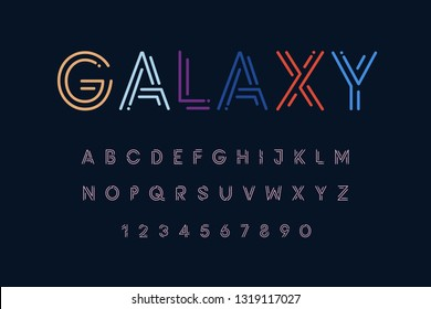 Galaxy space set style technology and modern.Decorative alphabet vector fonts and numbers.Typography design for headlines, labels, posters, logos.