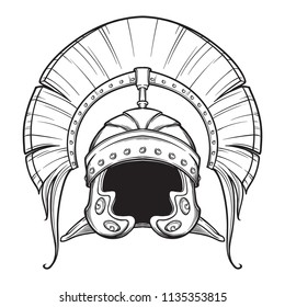 Galea. Roman Imperial helmet with crest tipically worn by centurion. Front view. Heraldry element. Black a nd white drawing isolated on white background. EPS10 vector illustration