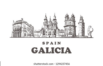 Galicia sketch skyline. Galicia, Spain hand drawn vector illustration. Isolated on white background.