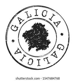 Galicia Spain Map Postmark. Silhouette Postal Passport. Stamp Round Vector Icon. Vintage Postage Design.