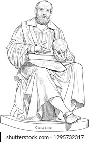 Galileo Galilei (1564-1642) portrait in line art illustration. He was Italian scholar, philosopher, astronomer, physicist and engineer. He constructed a telescope and supported the Copernican theory.