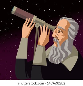 galileo galilei. great scientific astronomer.