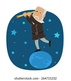 Galileo Galilei- Galileo is standing on earth looking in his telescope at the stars. Eps10