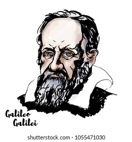 Galileo Galilei watercolor vector portrait with ink contours. The Italian polymath.