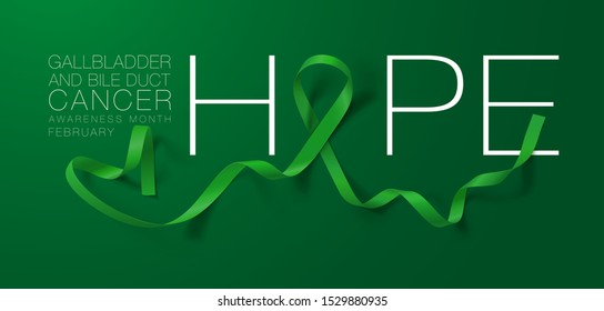 Gallbladder and Bile Duct Cancer Awareness Calligraphy Poster Design. Hope. Realistic Kelly Green Ribbon. February is Gallbladder and Bile Duct Cancer Awareness Month. Vector. Illustration