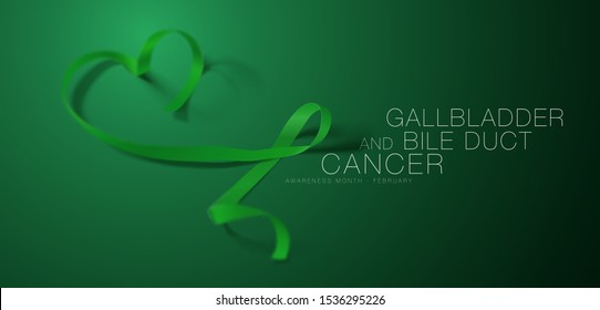 Gallbladder and Bile Duct Cancer Awareness Calligraphy Poster Design. Realistic Kelly Green Ribbon. February is Gallbladder and Bile Duct Cancer Awareness Month. Vector. Illustration