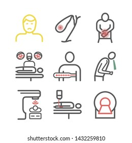 Gallbladder Cancer. Symptoms, Treatment. Line icons set. Vector signs for web graphics.