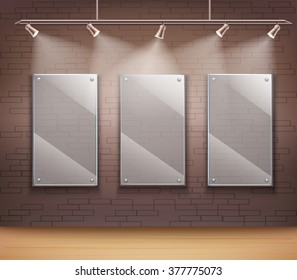 Gallery of 3 transparent glass frames on wall like background template for web design vector illustration