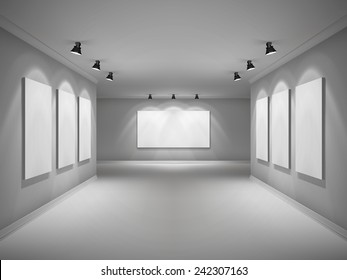 Gallery 3d realistic interior with empty picture frames in spotlights vector illustration