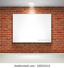 Gallery exhibition interior. Picture frames on brick wall. Vector illustration.