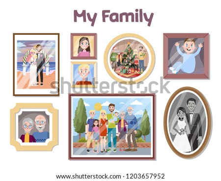 Gallery Family Portraits Frames Photo Group Stock Vector Royalty